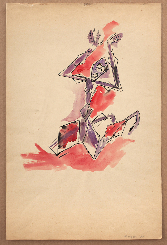Catherine Yarrow, Kneeling Purple Figure (Morges), 1935, Pen and watercolour on paper, 43.8 x 28.9 cm, Courtesy Austin Desmond, London, Breese Little