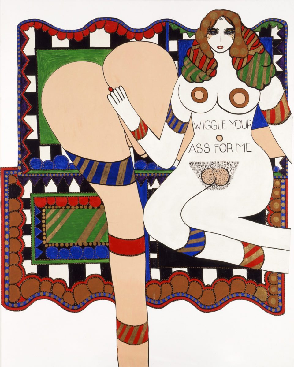 Dorothy Iannone, Wiggle Your Ass For Me, 1970, acrylic on canvas mounted on canvas 190 x 150 cm© All rights reserved, Courtesy of the artist and Air de Paris, Paris.