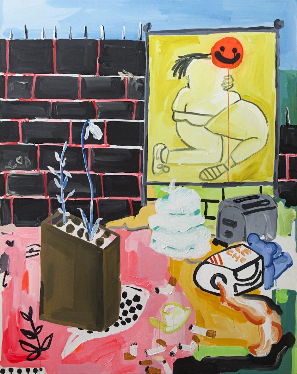 Cristina BanBan - The Barrio Jumble, Acrylic and spray paint on canvas, 2016, 122x153cm