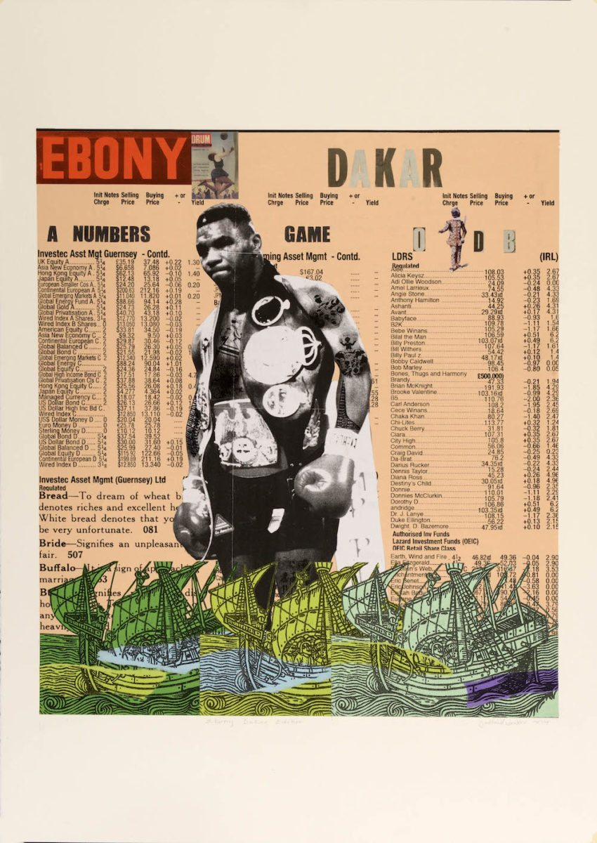 Godfried Donkor  Ebony Dakar Edition, 2015 70cm x 100 cm, Collage on Paper Courtesy of Gallery 1957
