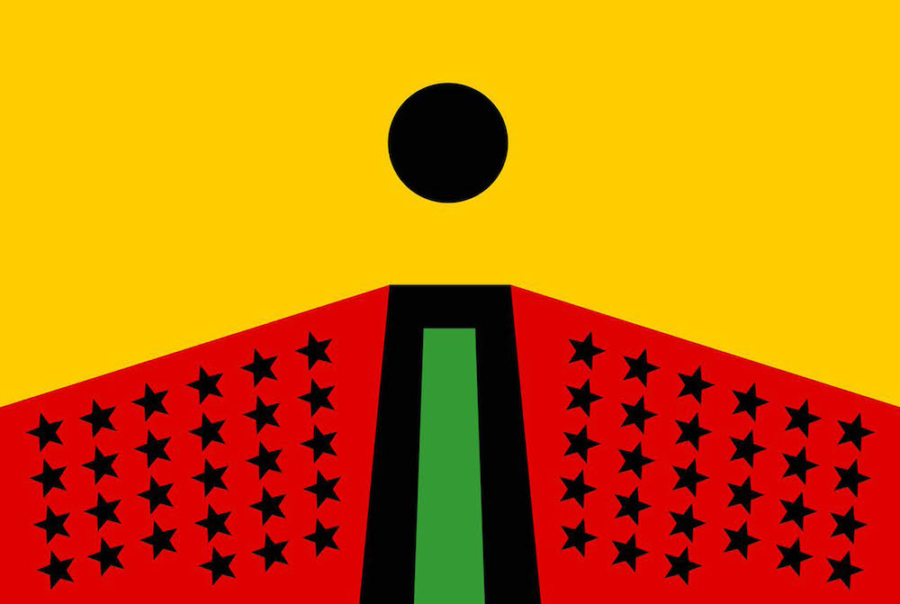 Larry Achiampong PAN AFRICAN FLAG FOR THE RELIC TRAVELLERS ALLIANCE 2017 Courtesy the artist