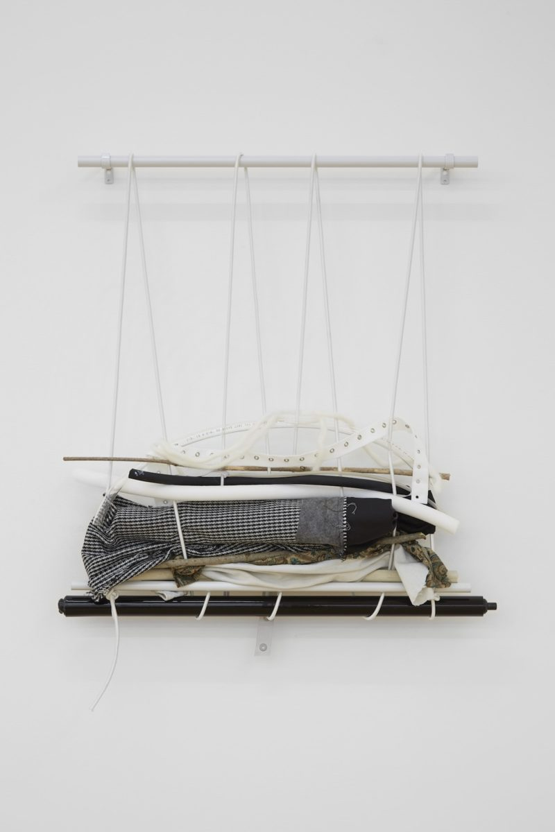 Marianne SpurrUntitled, 2017 Metal pole, cord, rubber, denim, wood, foam, plastic tubing, wool and fabrics 75 x 65 cm, Courtesy SUPPLEMENT