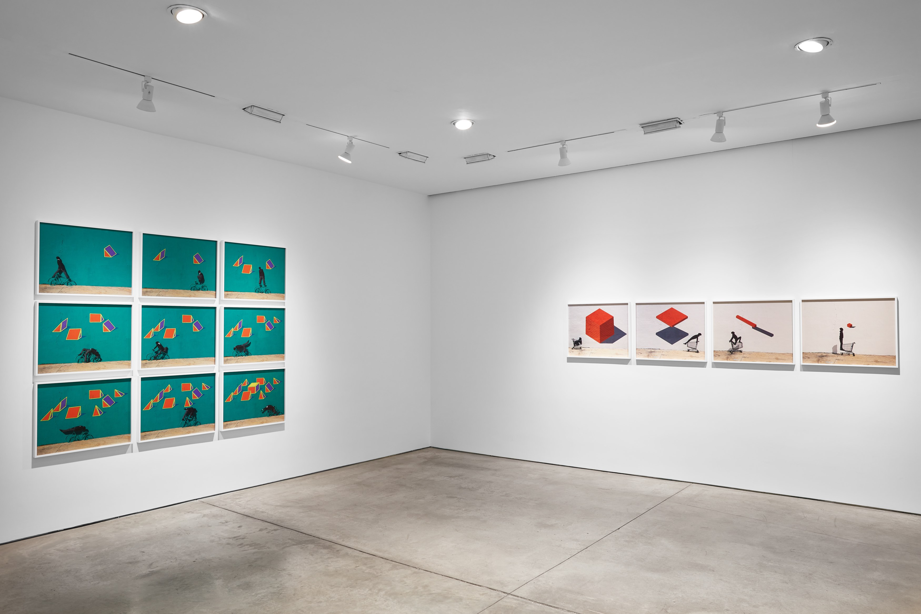 Robin Rhode, The Geometry of Colour Installation view, Lehmann Maupin, New York January 18 - February 24, 2018 Photo: Matthew Herrmann. Courtesy the artist and Lehmann Maupin, New York and Hong Kong.