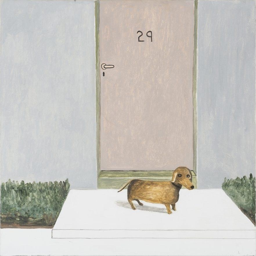Dachshund in Front of Door, 2014