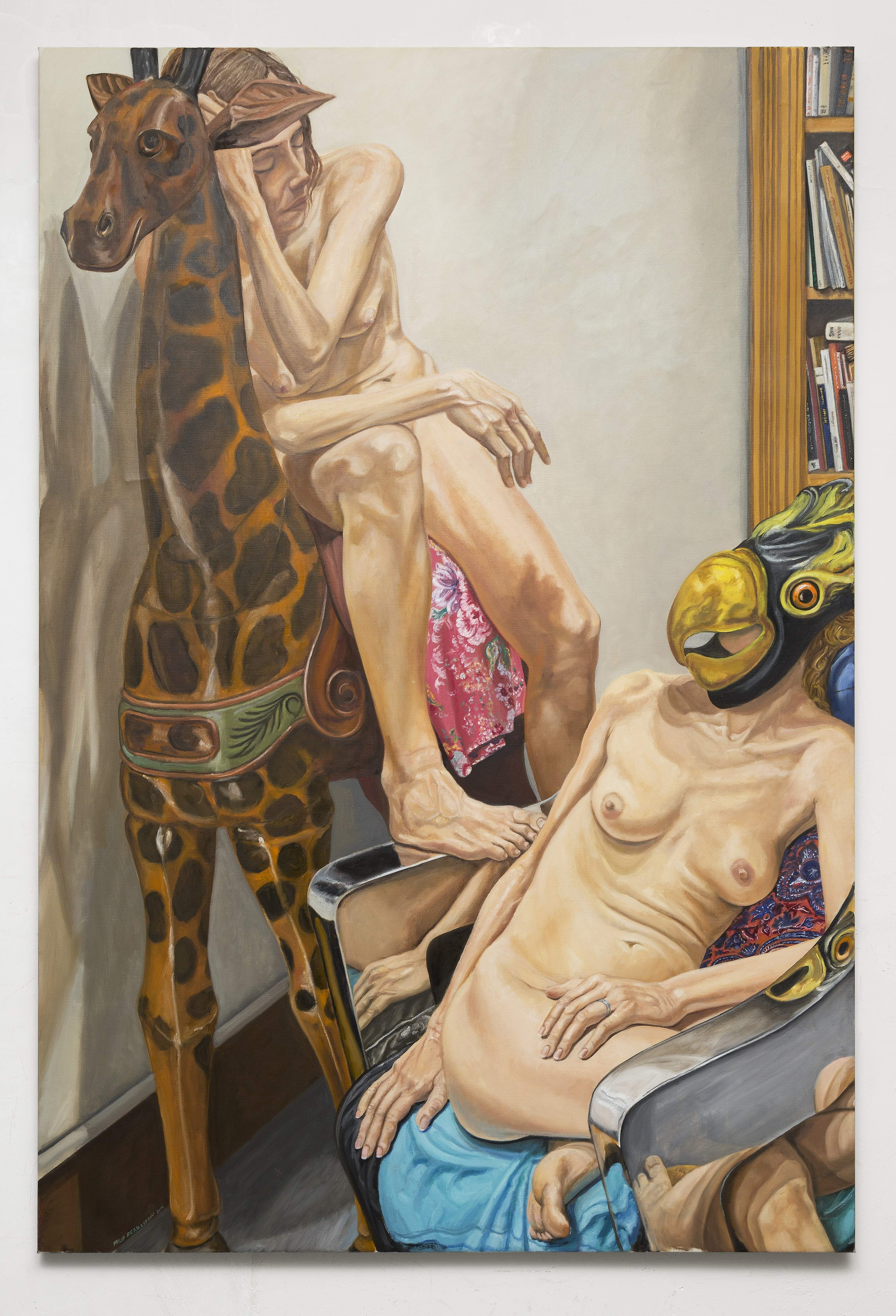 Philip PearlsteinTwo Models with Giraffe and Bird Masks, Chrome Chair and Book Shelves, 2016, Oil on canvas, 72 x 48 in. (182.88 x 121.92 cm)