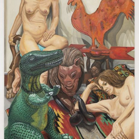 Philip Pearlstein, Two Models, Rooster Weathervane, Luna Park Lion and Blow-up Dinosaur, 2016, Oil on canvas 60 x 48 in. (152.4 x 121.92 cm)