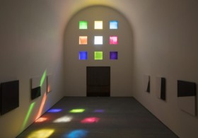 Ellsworth Kelly, Austin (2015). Interior view, facing south. © Ellsworth Kelly Foundation. Photo courtesy of the Blanton Museum of Art, The University of Texas at Austin.