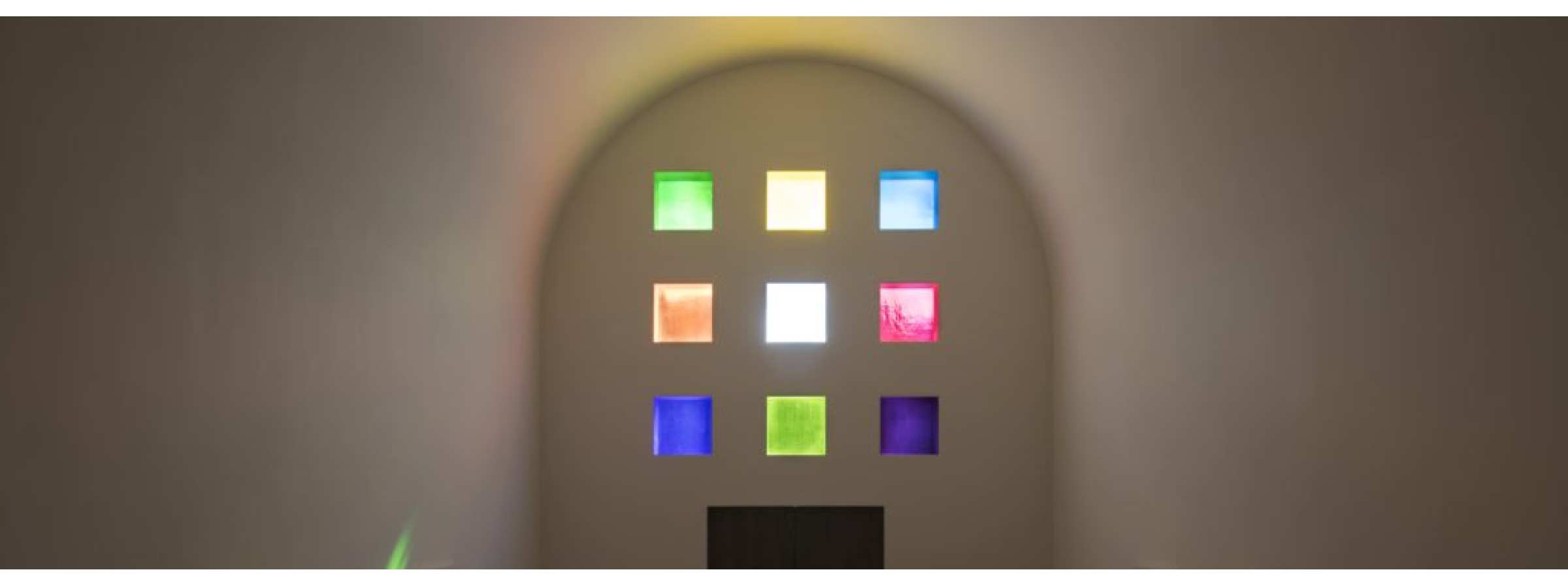 Ellsworth Kelly, Austin (2015). Interior view, facing south. © Ellsworth Kelly Foundation. Photo courtesy of the Blanton Museum of Art, The University of Texas at Austin.
