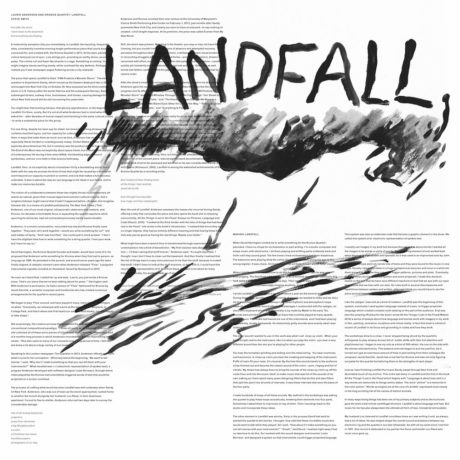 Laurie Anderson, Landfall. Cover artwork by Barbara deWilde