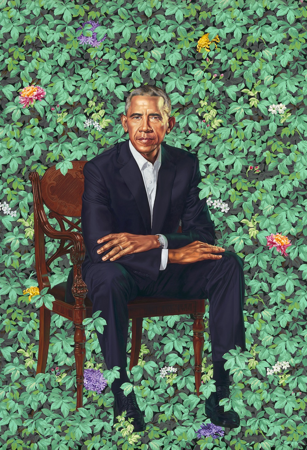 Barack Obama by Kehinde Wiley, oil on canvas, 2018. National Portrait Gallery, Smithsonian Institution. The National Portrait Gallery is grateful to the following lead donors for their support of the Obama portraits: Kate Capshaw and Steven Spielberg; Judith Kern and Kent Whealy; Tommie L. Pegues and Donald A. Capoccia.© 2018 Kehinde Wiley