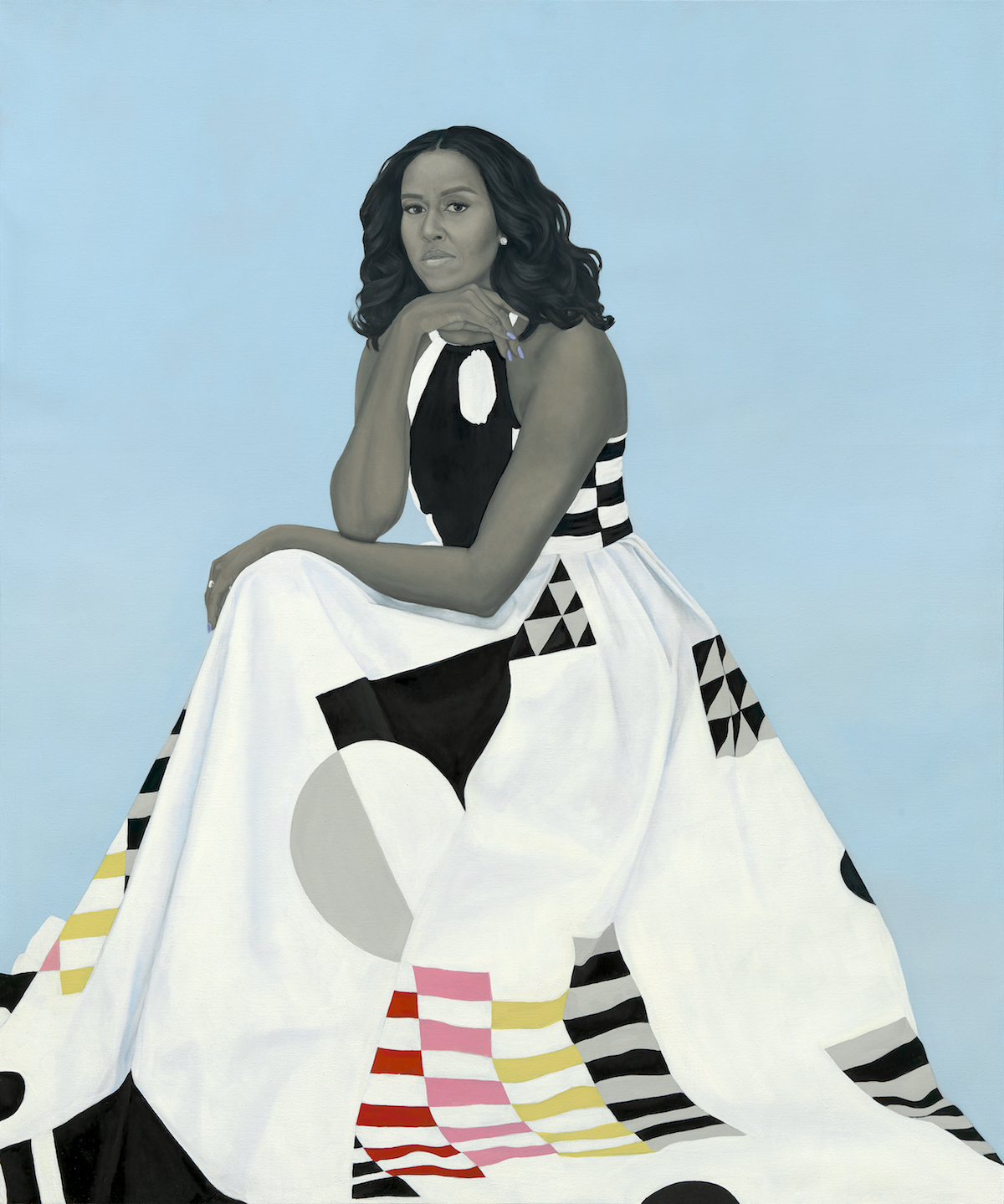 Michelle LaVaughn Robinson Obamaby Amy Sherald, oil on linen, 2018. National Portrait Gallery, Smithsonian Institution. The National Portrait Gallery is grateful to the following lead donors for their support ofthe Obama portraits: Kate Capshaw and Steven Spielberg; Judith Kern and Kent Whealy; Tommie L. Pegues and Donald A. Capoccia.