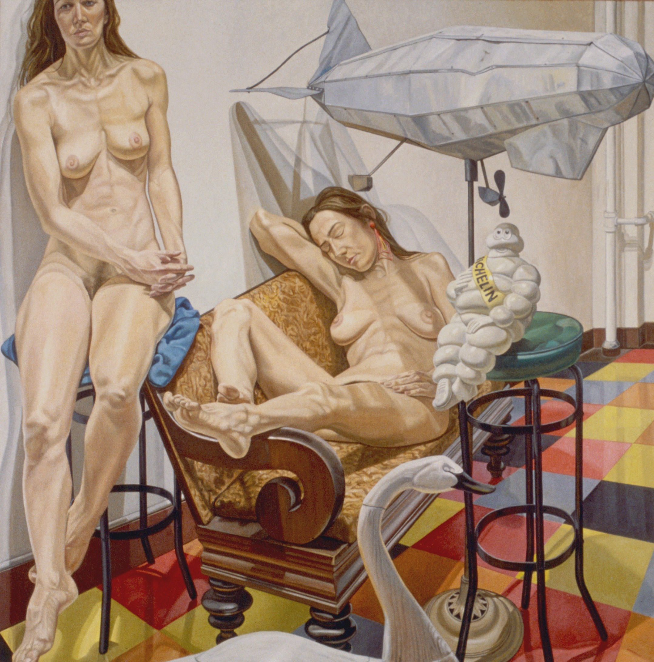 Philip Pearlstein, Models and Blimp, 1991, Oil on canvas 84 x 84 in. (213.4 x 213.4 cm)