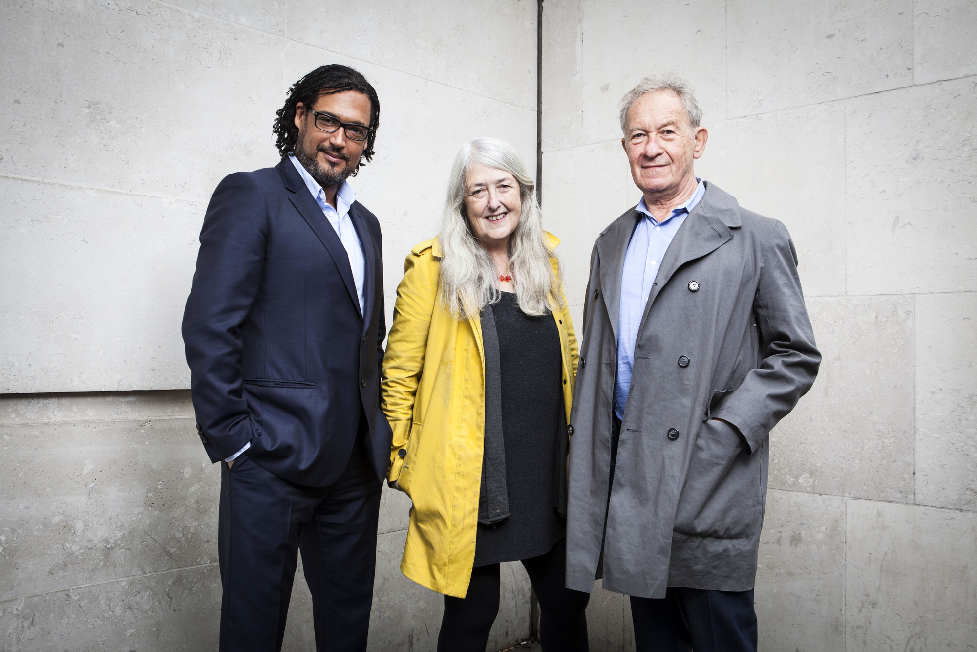 David Olusoga, Mary Beard, Simon Schama. Photographer: Andrew Hayes-Watkins