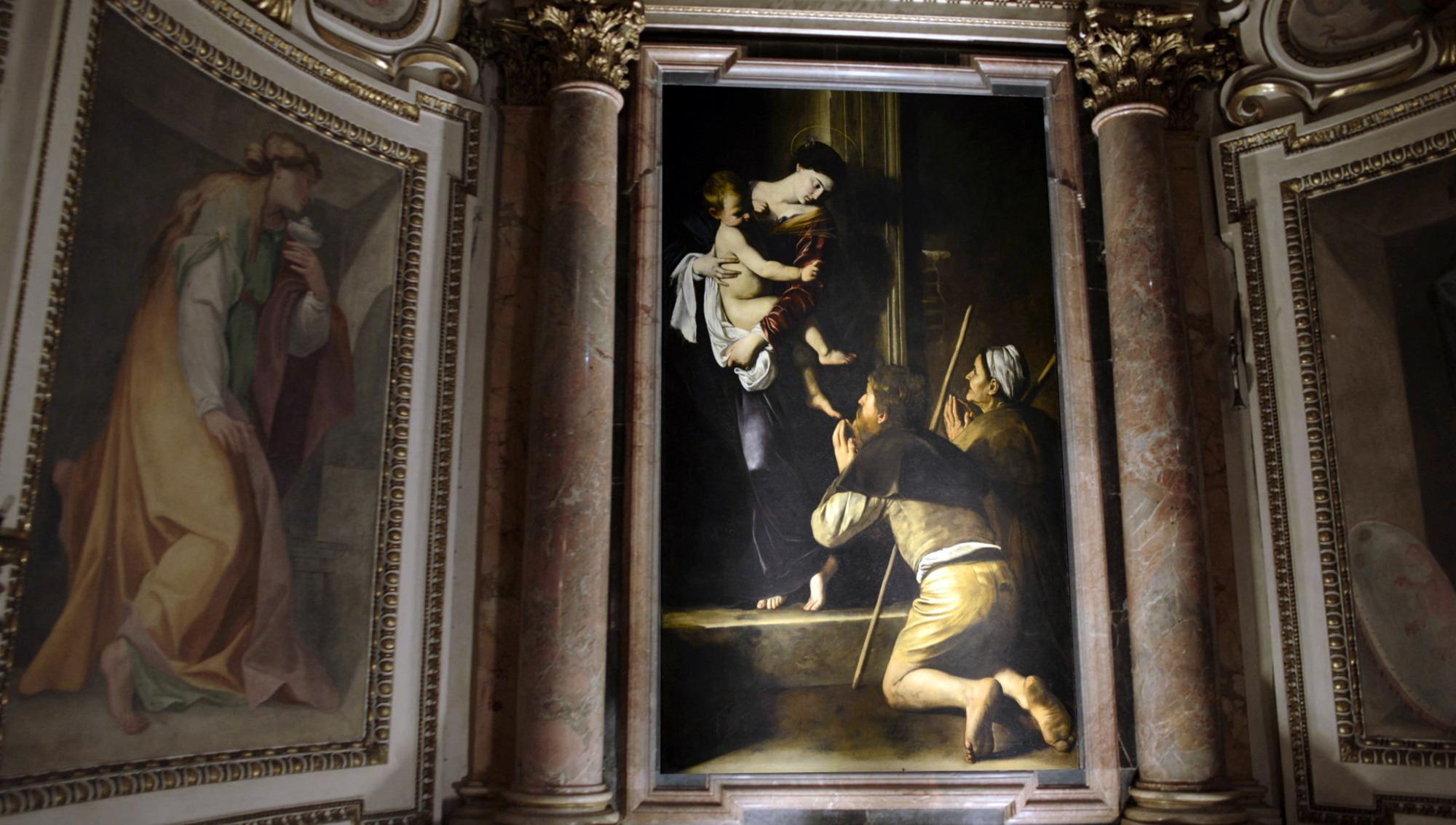 Madonna di Loreta, Caravaggio (1606) – located in the Cavalletti Chapel of the church of Sant'Agostino, Rome, Italy. Photographer: Nutopia