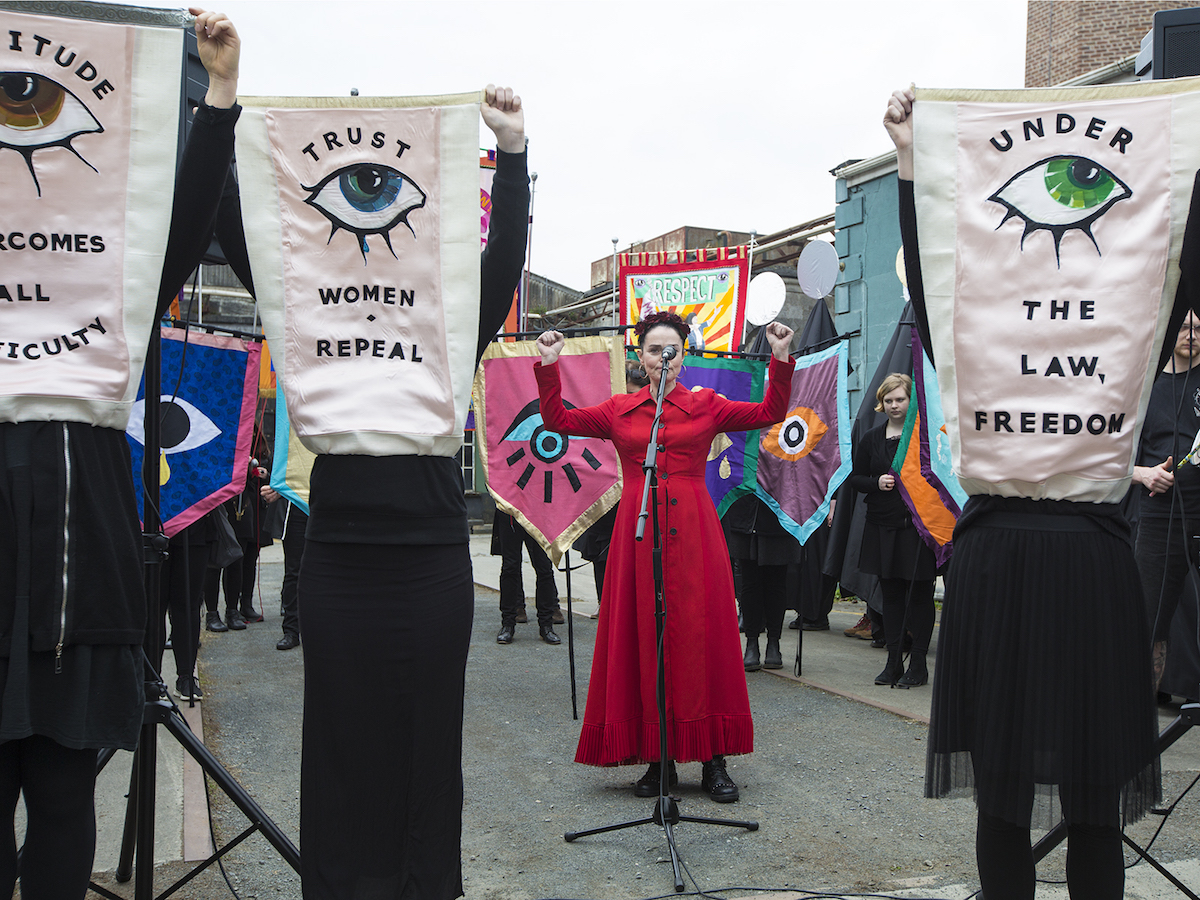 The Artists' Campaign to Repeal the Eighth Amendment, Performance at EVA International 2018, Photo by Deirdre Power, courtesy the artists and EVA International