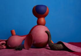 Lorenzo Vitturi, Painted Agbe, Italian Leather, Coral Beads and Horn, 2017 (c) Lorenzo Vitturi, Courtesy of Flowers Gallery