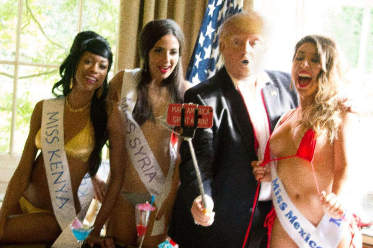 Alison Jackson, Trump selfie with selfiestick with Miss Kenya, Miss Syria, Miss Mexico, 2016 with Raffaella De Chirico