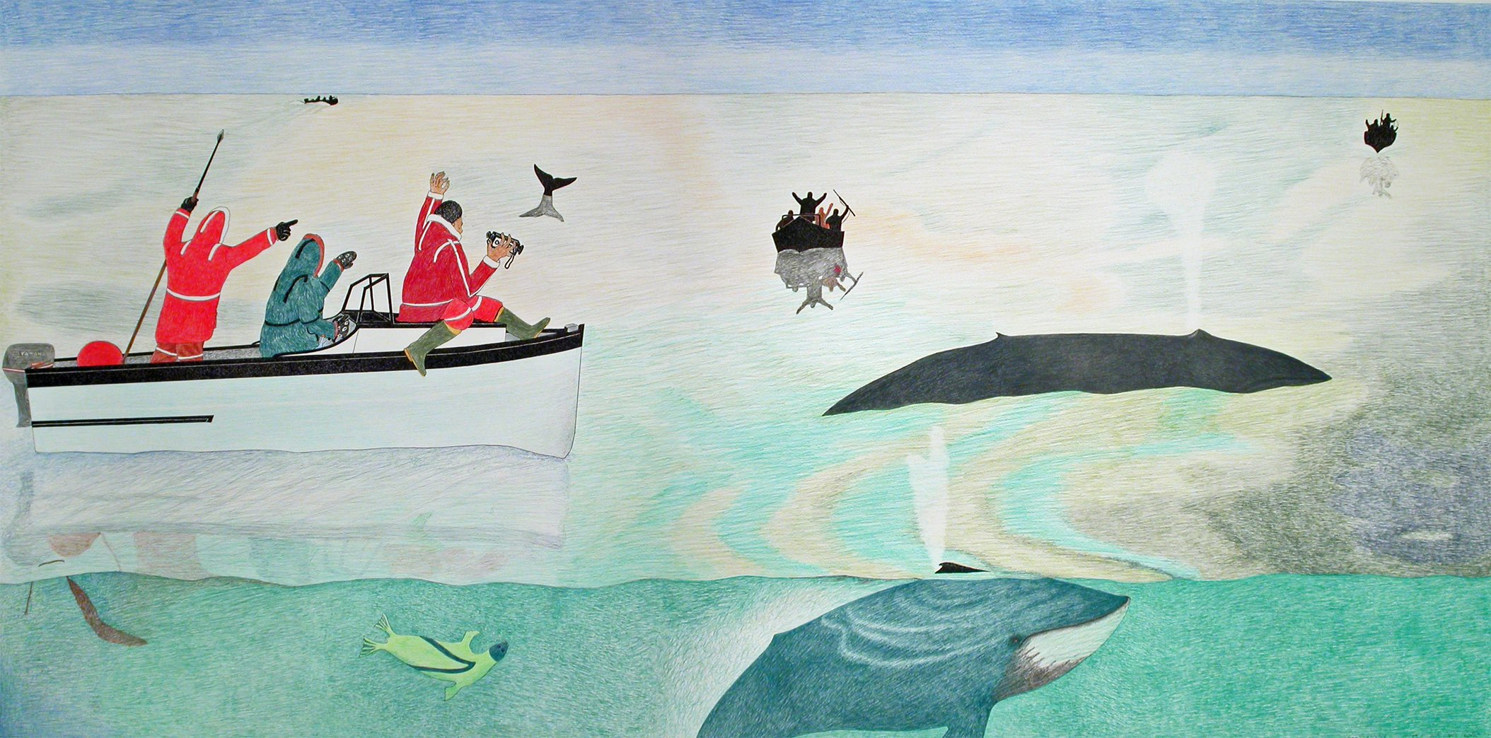 Kananginak Pootoogook, Untitled (Whale Hunt)