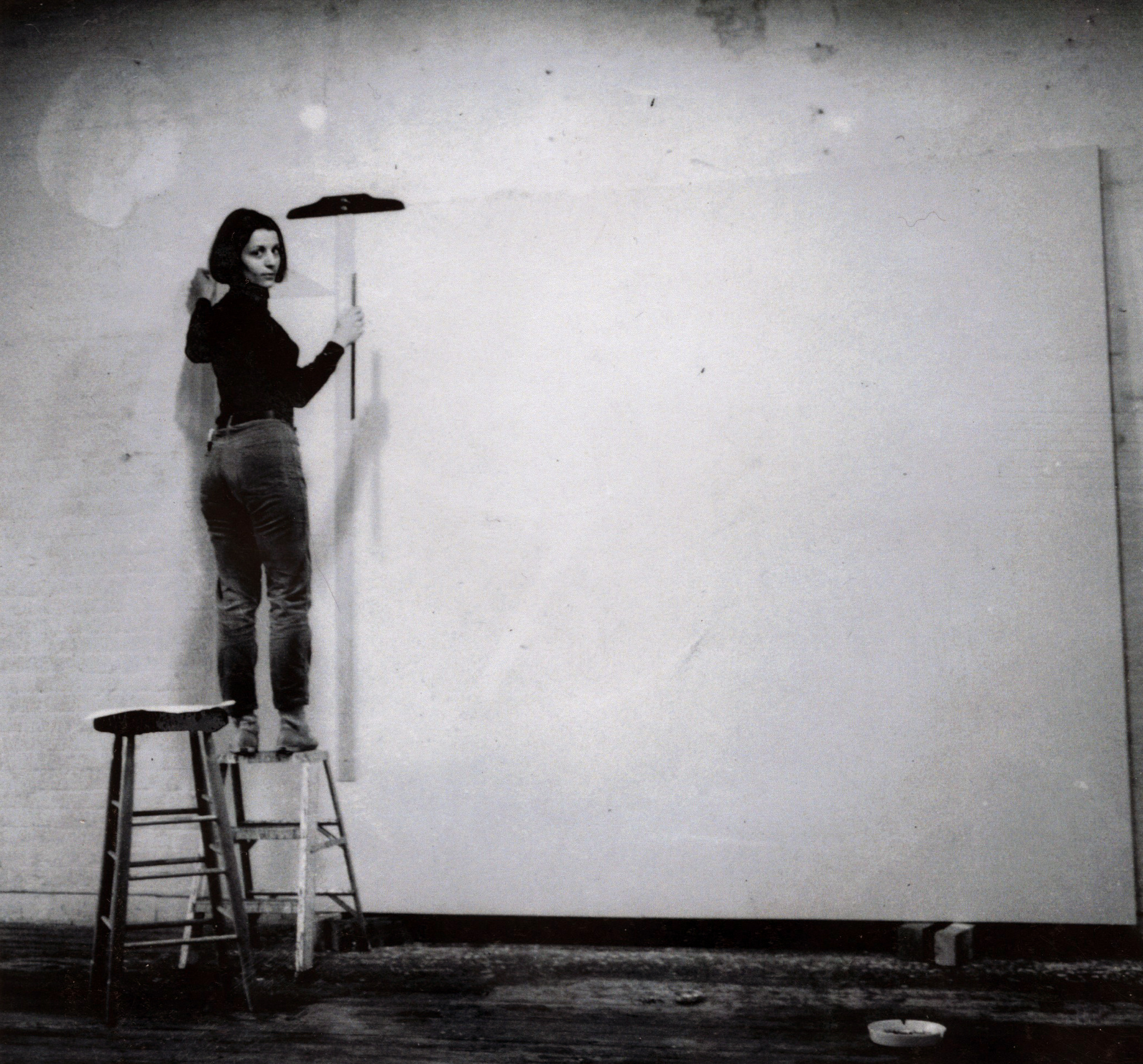 Rosemarie Castoro working in her Soho Studio in 1967.