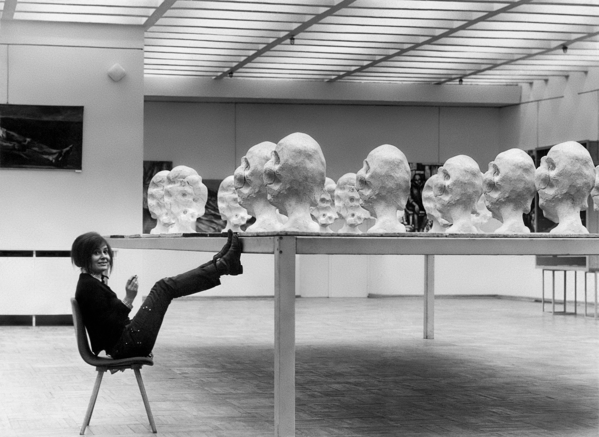 Wanda Czelkowska next to her installation The Table, 1971