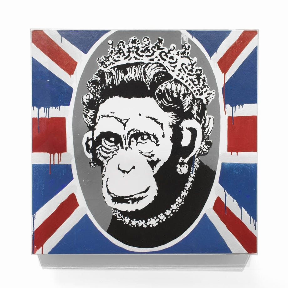 Banksy, Deride and Conquer, 2003, oil and emulsion on canvas, 93 x 95 cm Courtesy Lazinc