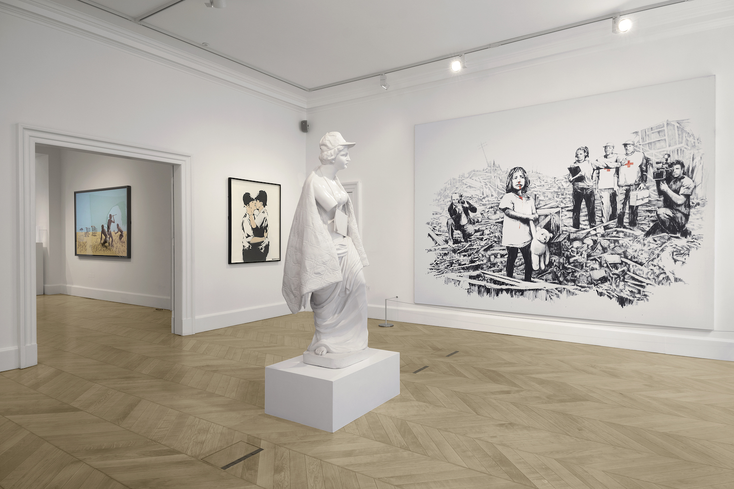 Banksy's Greatest Hits at Lazinc, installation view. Image courtesy of Lazinc