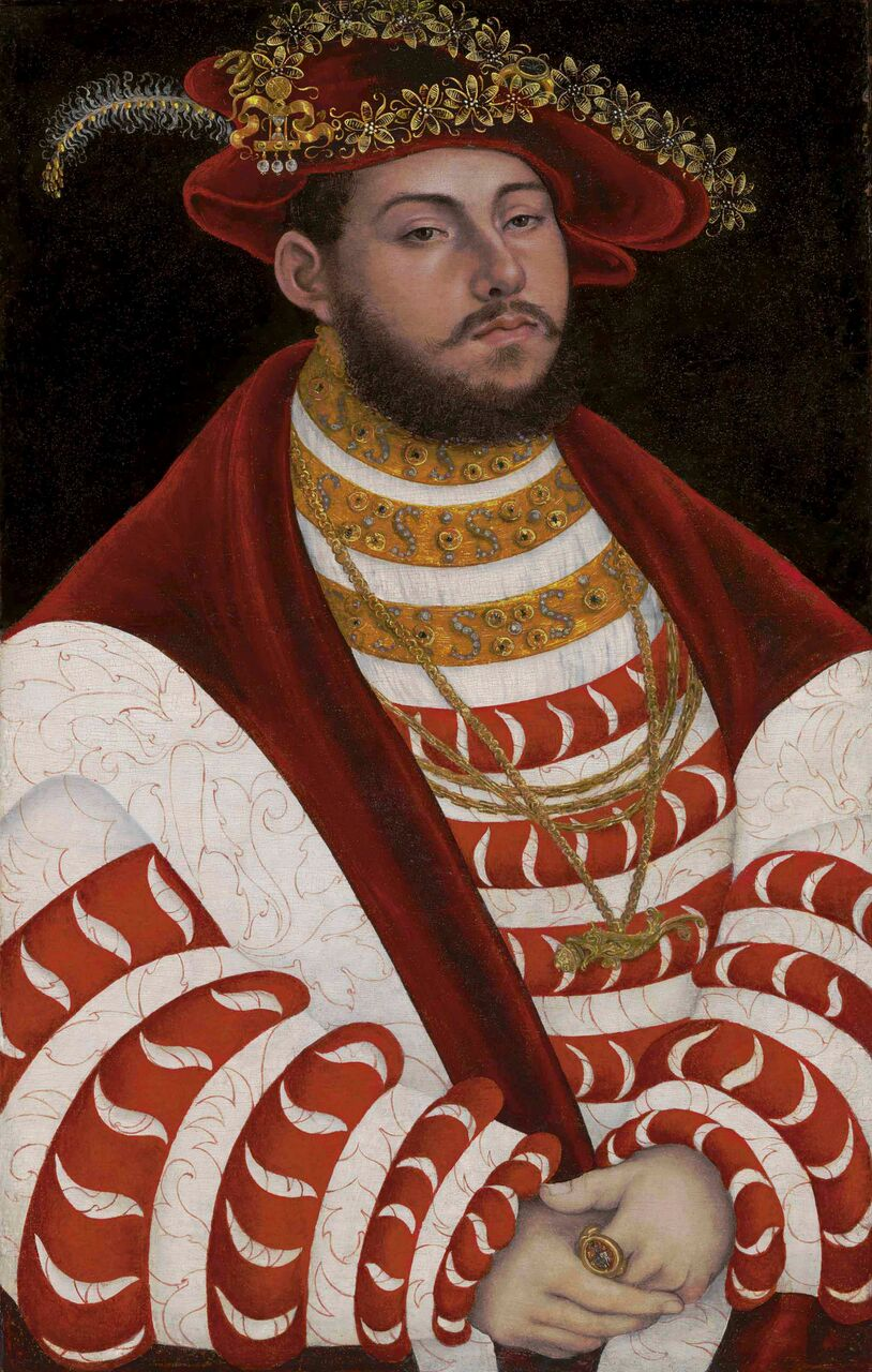 Lucas Cranach I, Portrait of John Frederick I, Elector of Saxony. Oil on panel. 19 April 2018 Old Masters Part I, Christie's New York, price realised: $7,737,500