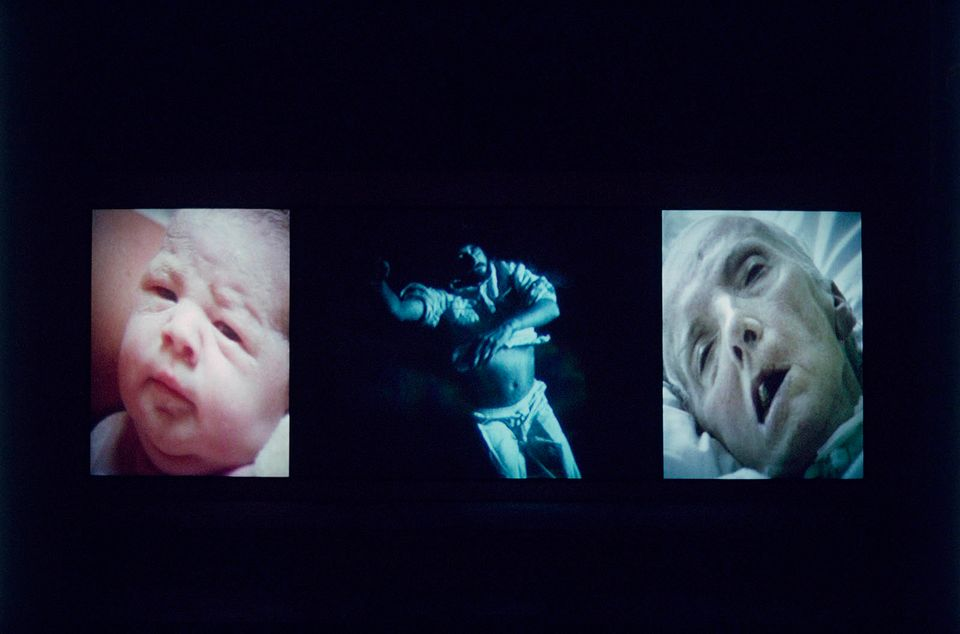 Bill Viola, Nantes Triptych, 1992. Video/sound installation. Courtesy Bill Viola Studio. Photo: Kira Perov