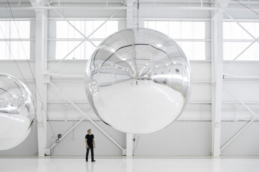 Trevor Paglen with an early prototype of Orbital Reflector. Photo courtesy of Altman Siegel Gallery and Metro Pictures/Nevada Museum of Art