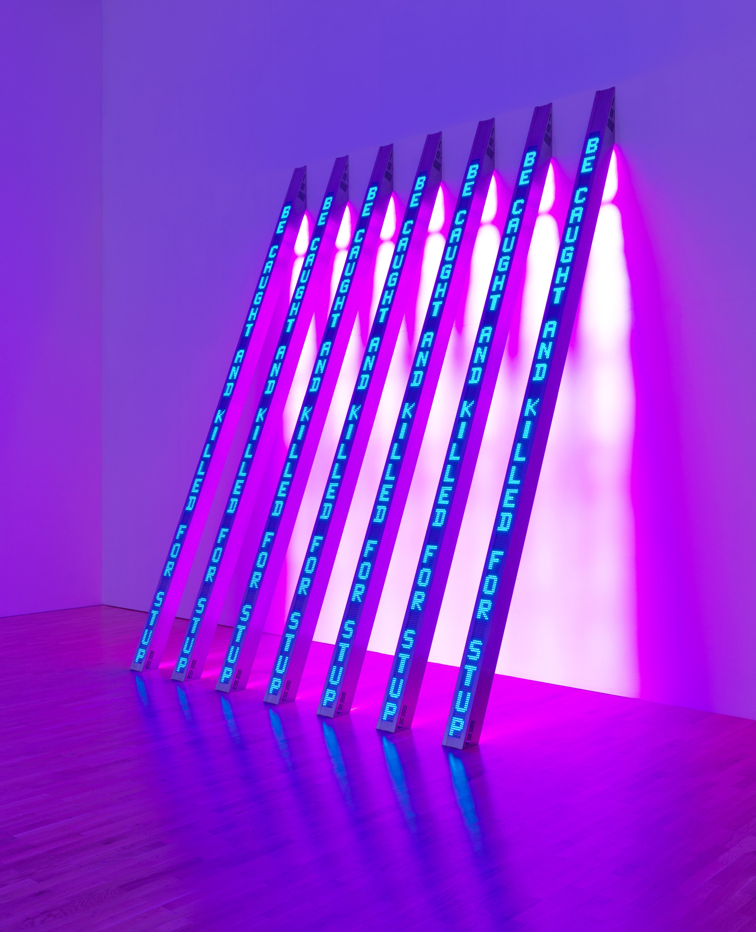 BLUE PURPLE TILT 2007 © 2018 Jenny Holzer, member/Artists Rights Society (ARS), New York.Tate/National Galleries of Scotland