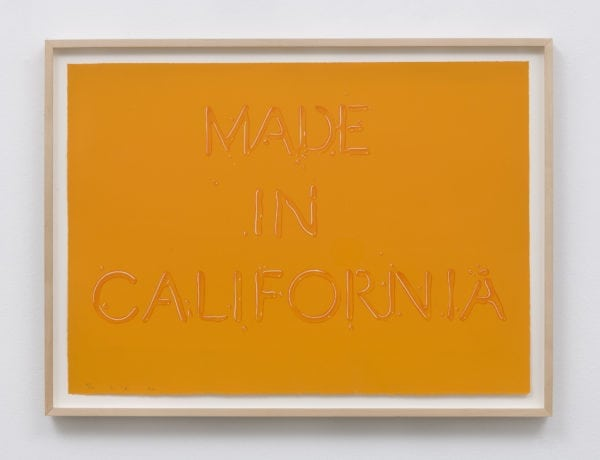 Ed Ruscha California Screenprint on white Arches paper, 20 x 28 inches Edition of 100 + 12 AP. Photo by Jeff McLane. Courtesy Honor Fraser Gallery