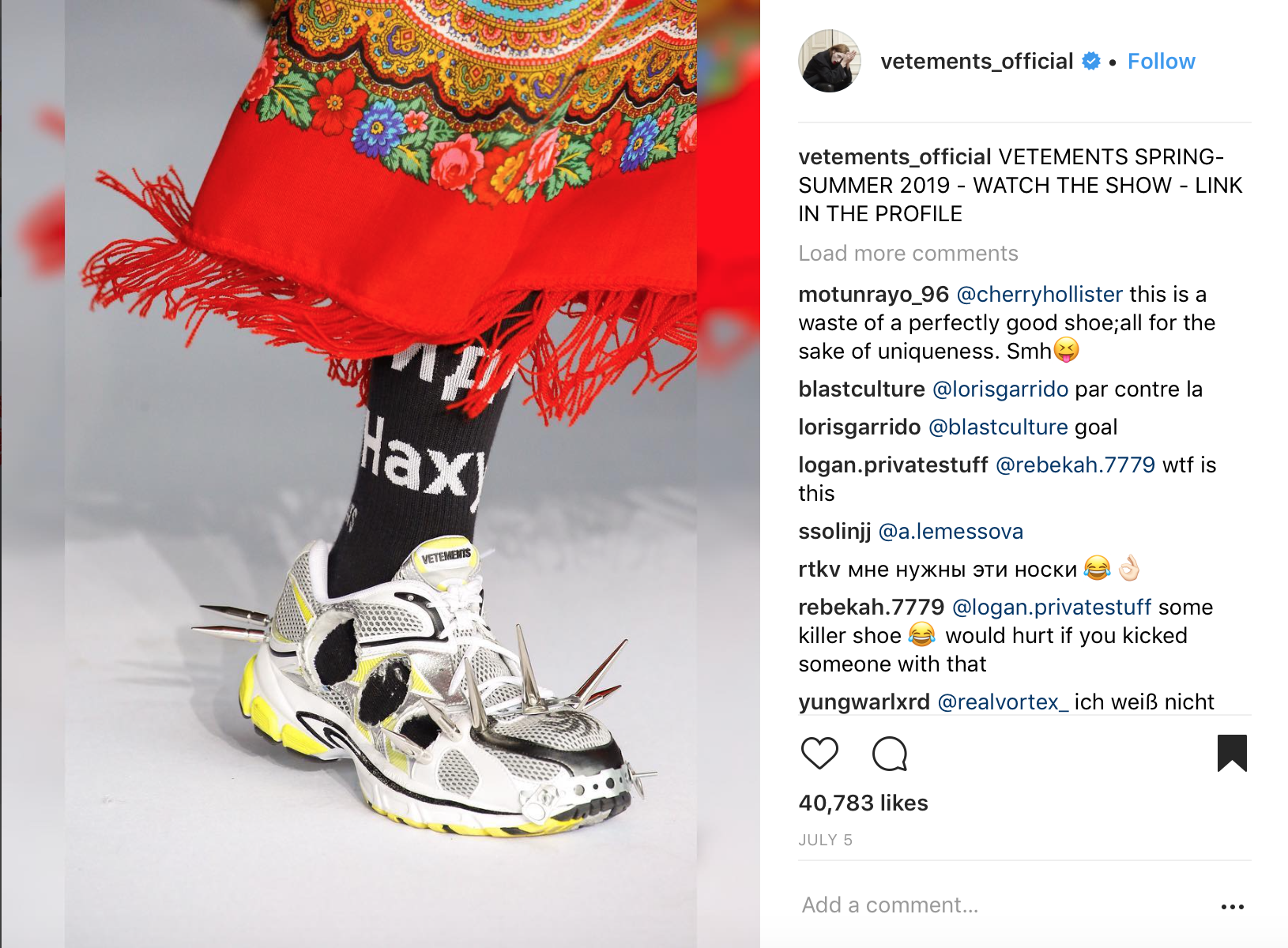 Vetements Instagram
