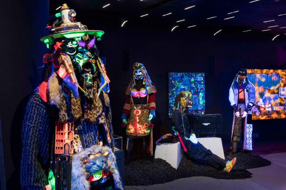 Exhibition view of RAMMΣLLZΣΣ: Racing for Thunder, Redbull Arts New York, in New York City, New York USA, April 3, 2018. All artwork © 2018 The Rammellzee Estate