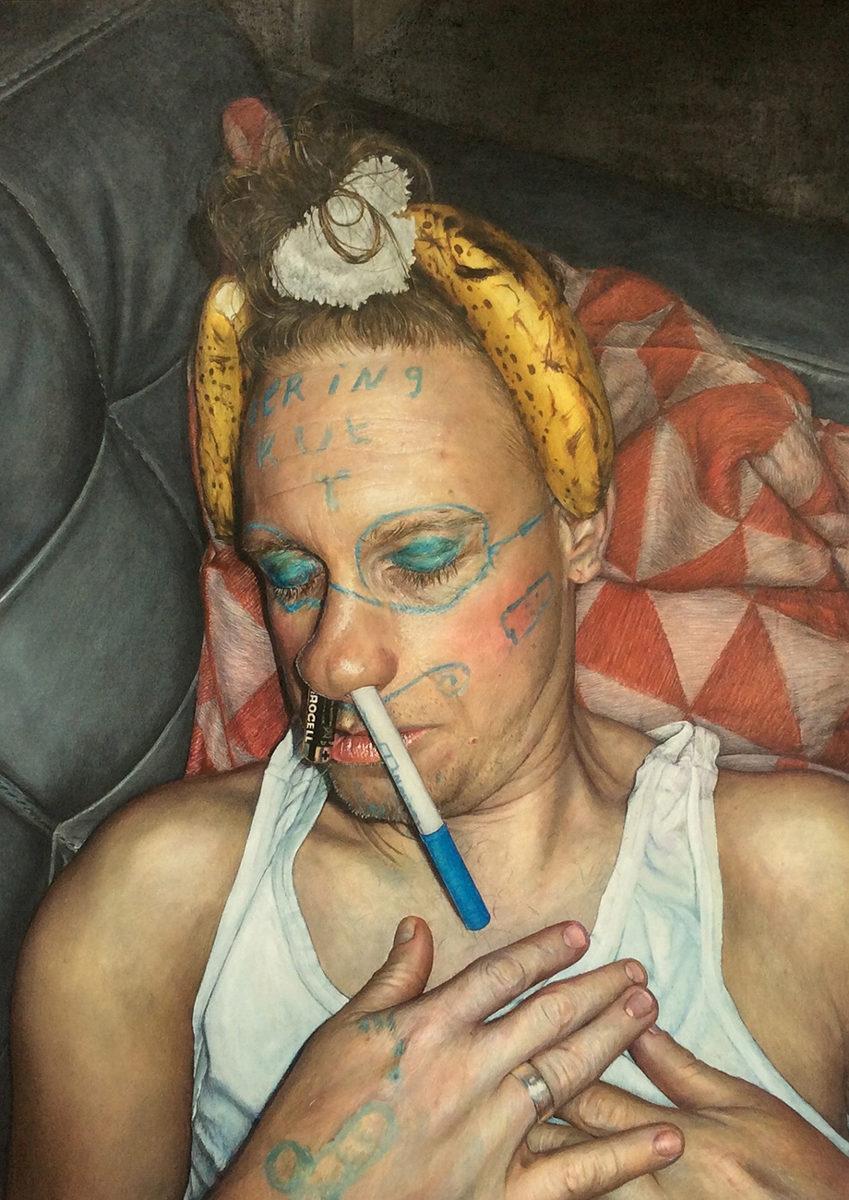 Galerie Maurits van de Laar, Kim Hospers Esse Est Percipi Whatever Selfportrait with 2 bananas, 2017