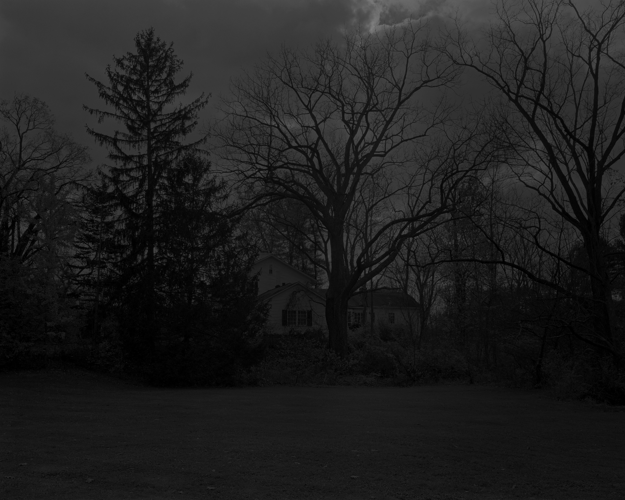 Dawoud Bey, Night Coming Tenderly, Black: Untitled #1 (Picket Fence and Farmhouse), 2017. Gelatin silver print, 111.8 x 139.7 cm. Courtesy Rena Bransten Gallery, San Francisco