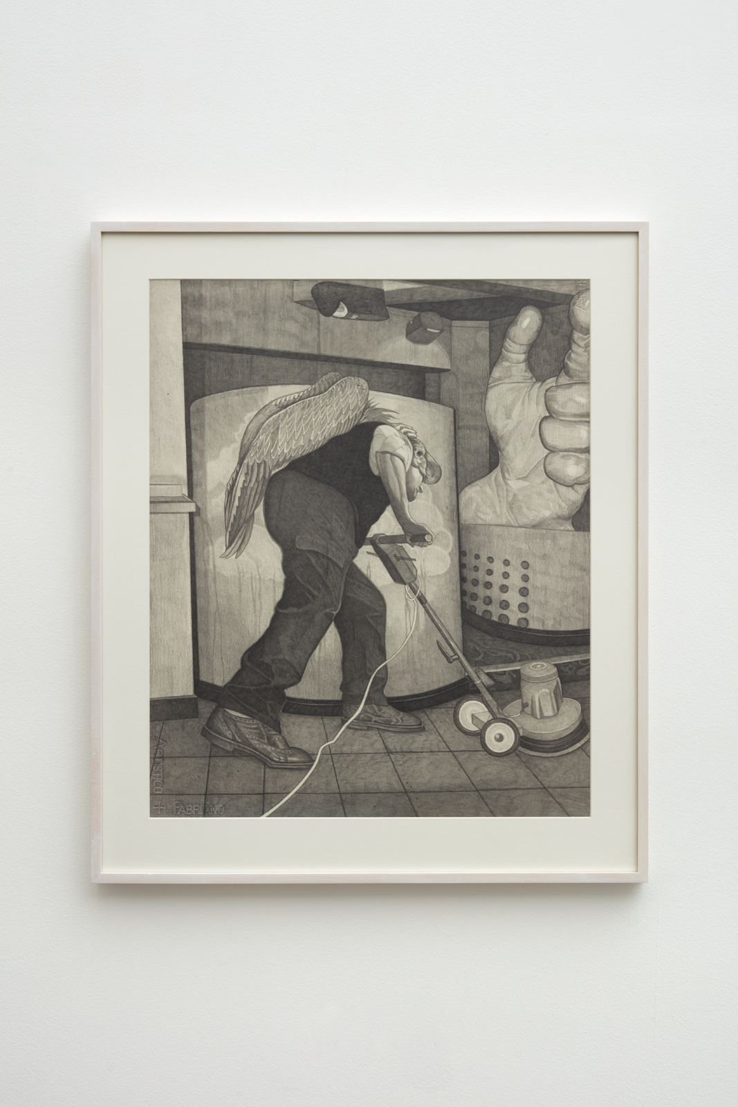 Paul Anthony Harford, Untitled (Cleaner with Vulture Wings), ca. 2002. Graphite on paper, 69.4 x 56.9 cm. © the Estate of Paul Anthony Harford. Photo by Robert Glowacki. Courtesy Sadie Coles HQ, London