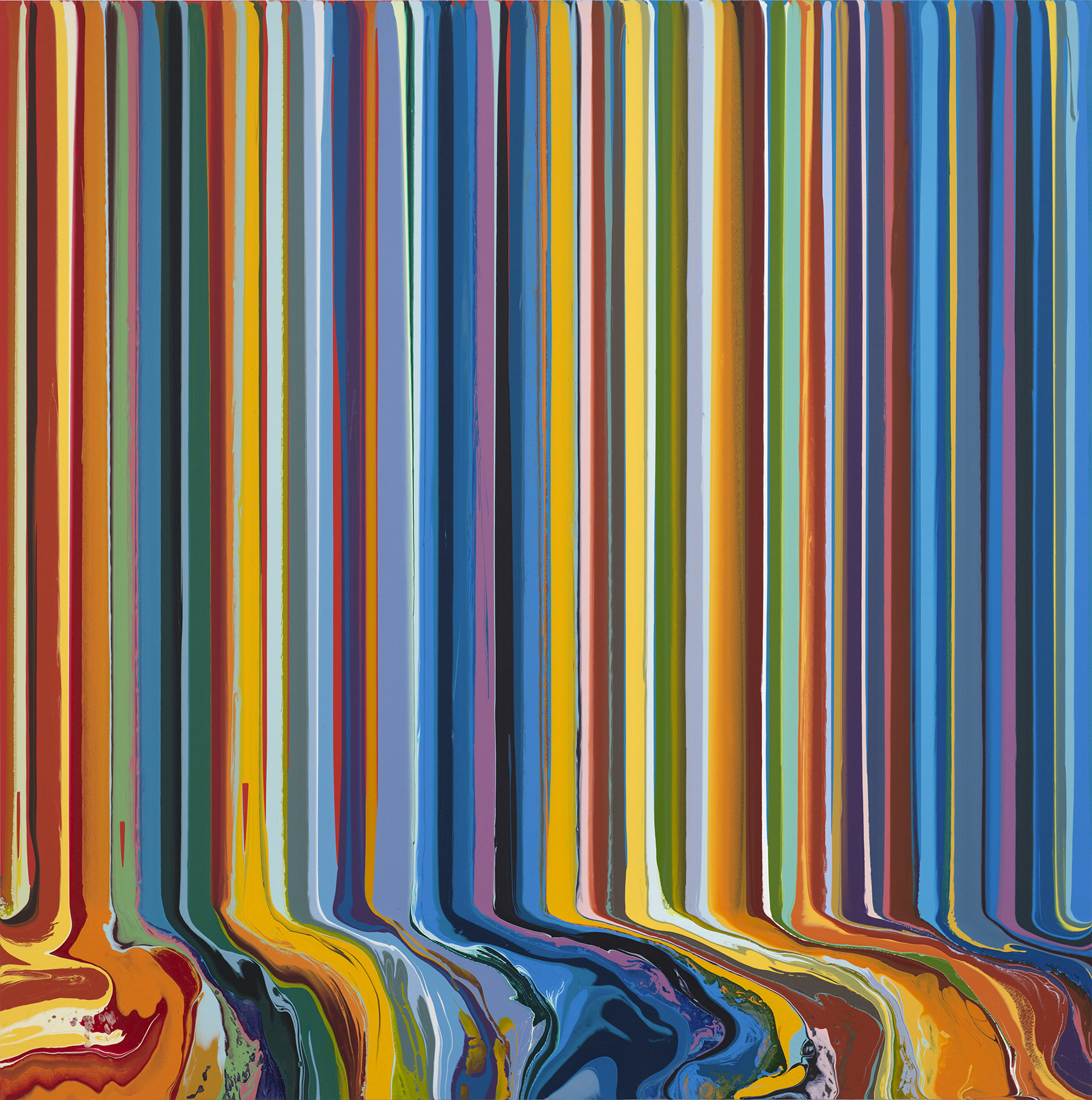 Ian Davenport, Turquoise and Orange Study (After Bonnard), 2018. Acrylic on aluminium mounted on aluminium panel, 101.6 x 101.6 cm