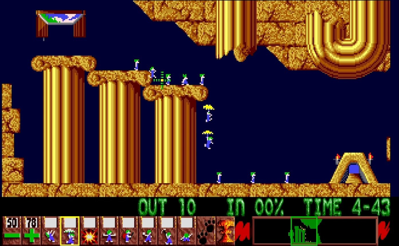 Lemmings, designed by DMA Design, published by Psygnosis