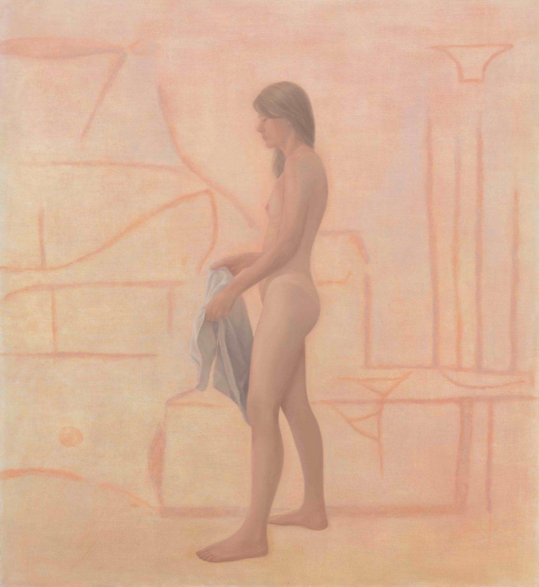 Sarah in the Sauna, Melanie Ebenhoch, 2018, Photo: dotgain.info, Courtesy Galerie Tobias Naehring, Leipzig