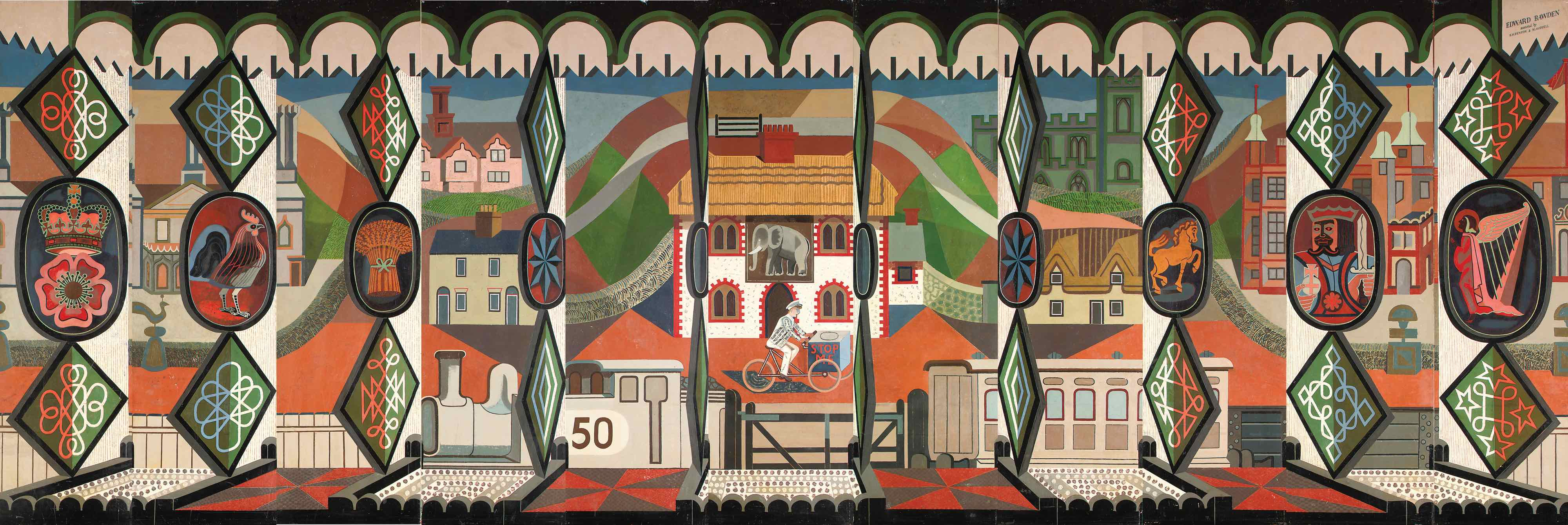 The English Pub, mural for Oronsay, by Edward. Bawden, assisted by E.W. Fenton and M. Hoddell. © Private collection courtesy of Jennings Fine Art and Liss Llewellyn Fine
