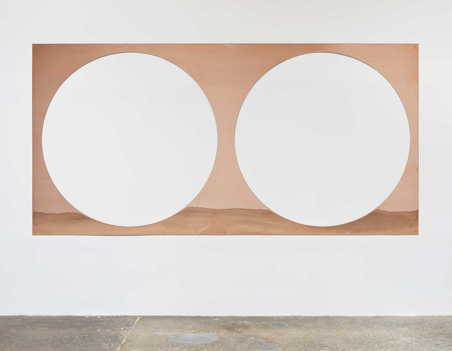 Copper Remnant (Table: designed by unknown, date unknown; Galerie Rodolphe Janssen, Brussels, Belgium, September 6th, 2011), 2012, polished copper, 152.4 x 304.8 cm. Photo: Brian Forrest, courtesy of the artist and Regen Projects, Los Angeles