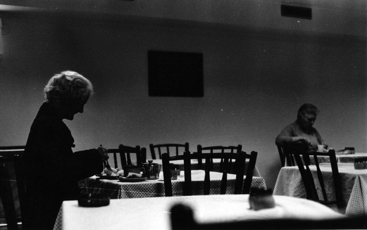 Two women eating, Queen Mary Hostel Pimlico, 1992