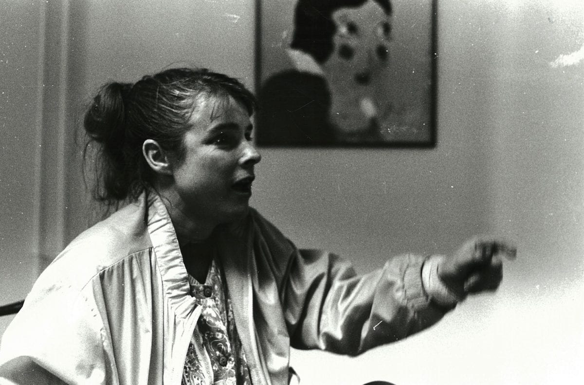 Woman with painting, Queen Mary hostel Pimlico, 1992
