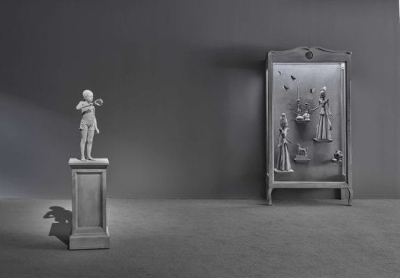 Hans Op de Beeck, Cabinet of Curiosities at Galerie Ron Mandos. Pictured left: Tatiana (Soap Bubble), 2018. Pictured right: Wunderkammer 8