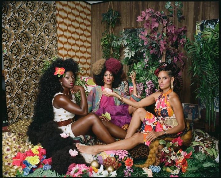 Mickalene Thomas, Les Trois Femmes Deux, 2018