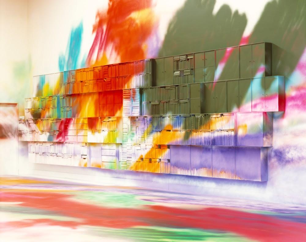 Katharina Grosse,Double Floor Painting, 2004. Installation view at Kunsthallen Brandts Klædefabrik, Odense, Denmark, Photo: Torben Eskerod, © 2018 Katharina Grosse and VG Bild-Kunst, Bonn