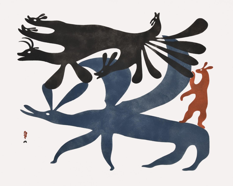 Kenojuak Ashevak, Hare Spirits, 1960, sealskin stencil