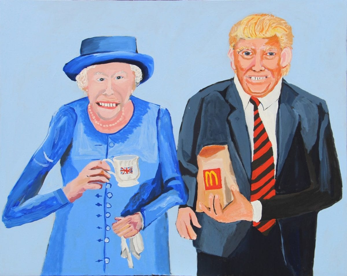 Vincent Namatjira, Queen Elizabeth and Trump, 2018, This Is No Fantasy + dianne tanzer gallery