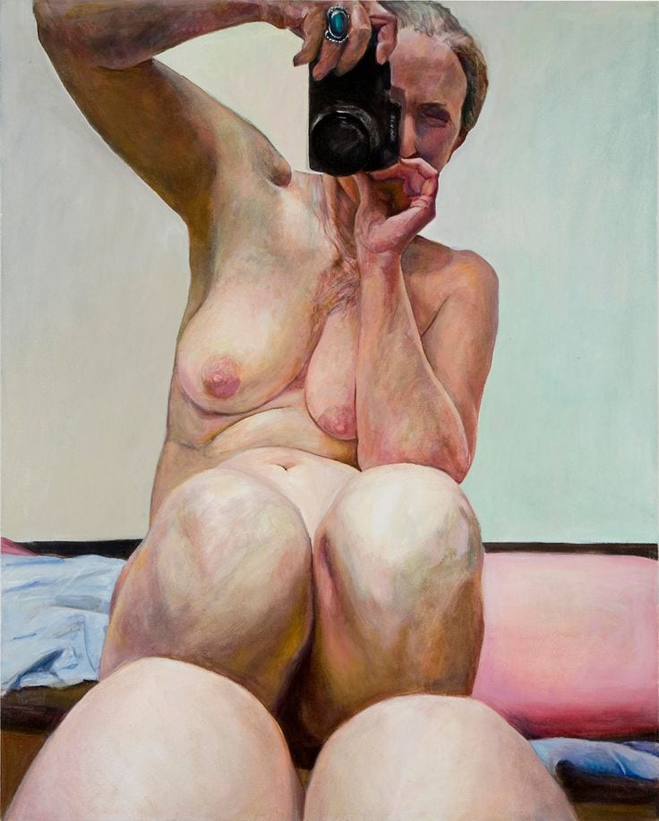 nude portrait selfportrait selfie painting naked woman joan semmel