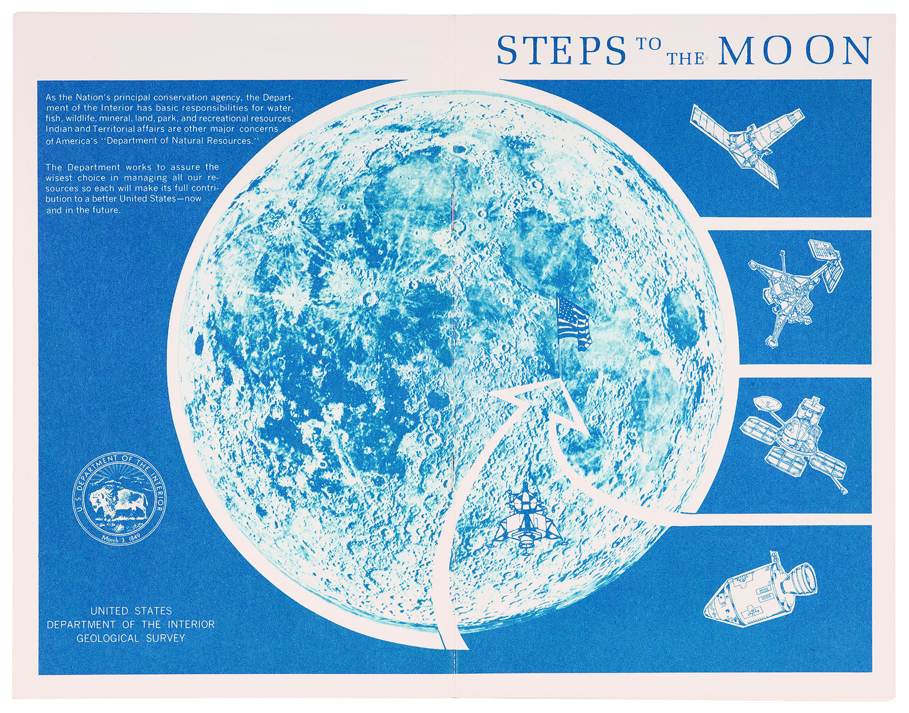 Steps to the Moon by the United States Department of the Interior Geological Survey, from the Apollo Mission 11 information kit, United States Air Force, Aeronautial Chart and Information Centre, ST. Louis, 1969. British Library, London.